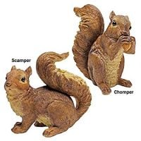 Design Toscano QM918873 Woodland Chomper and Scamper Polyresin, Set of 2 NIBBLING Squirrel Garden Statue, 7