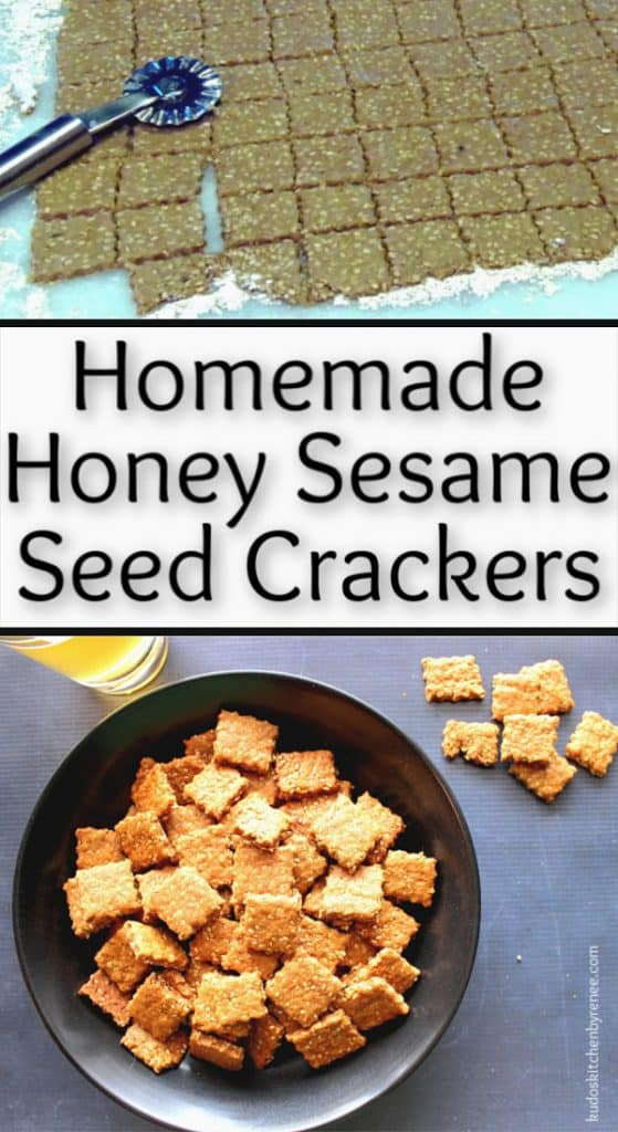 Vertical title text collage image of homemade honey sesame seed crackers.