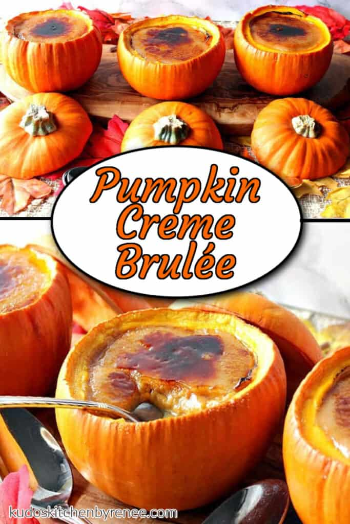 A photo collage of pumpkin creme brulee with a title text overlay graphic