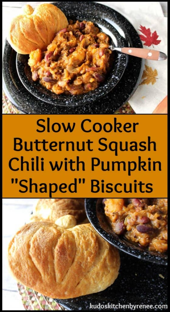 Vertical title text collage image of slow cooker butternut squash chili.