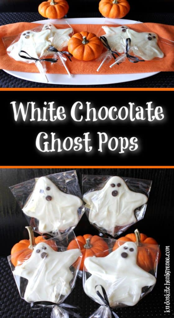 Title text vertical collage images of white chocolate ghost pops in cellophane bags with ribbon.