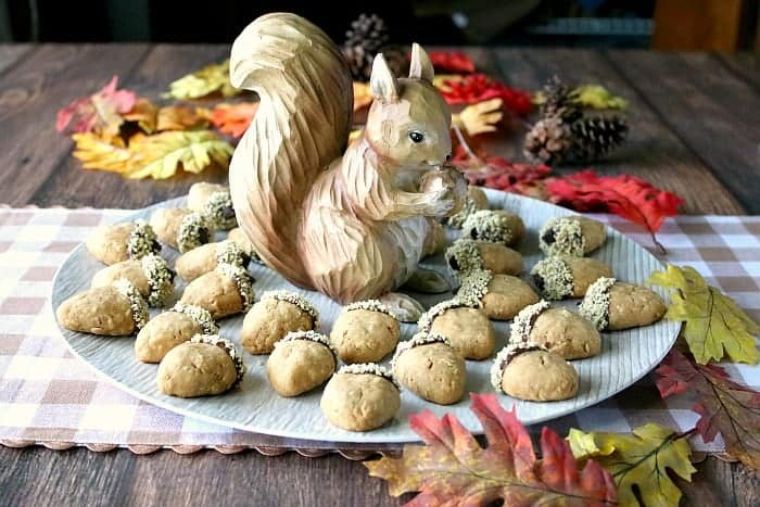 Round platter of acorn cookies surrounding a cute squirrel