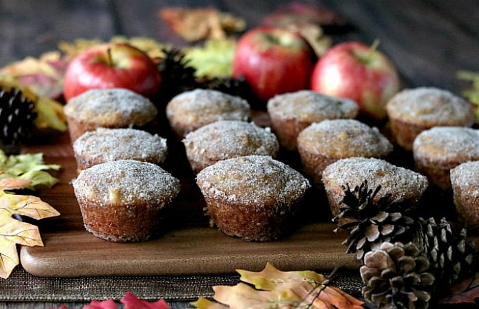 A dozen apple cider donut muffins on a brown board with pine cones and apples.