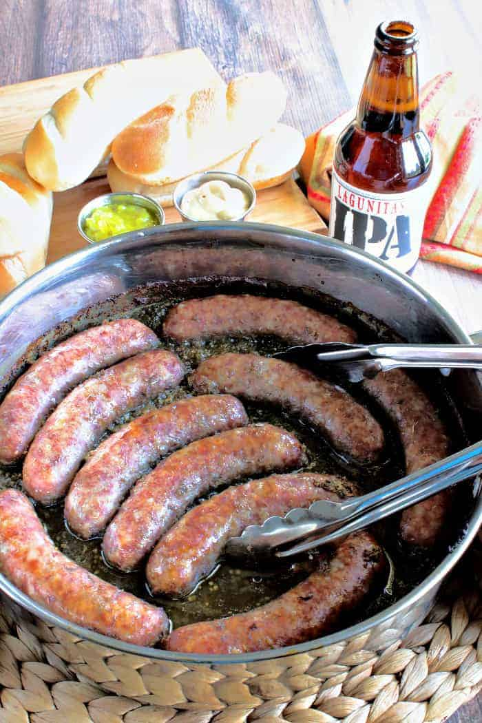Beer-Braised Bratwurst with Horseradish and Dill