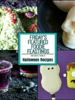 A halloween recipe roundup collage with a title text overlay graphic in the center