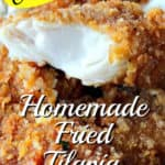 Closeup vertical title text image of a flaky piece of breaded fried tilapia