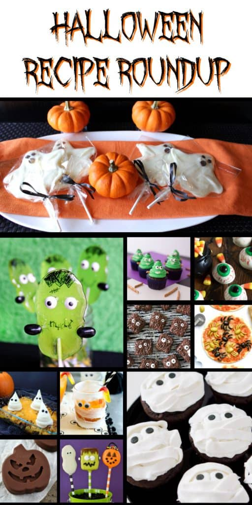 A fun photo collage of fun and spooky Halloween recipes along with a title text overlay graphic.