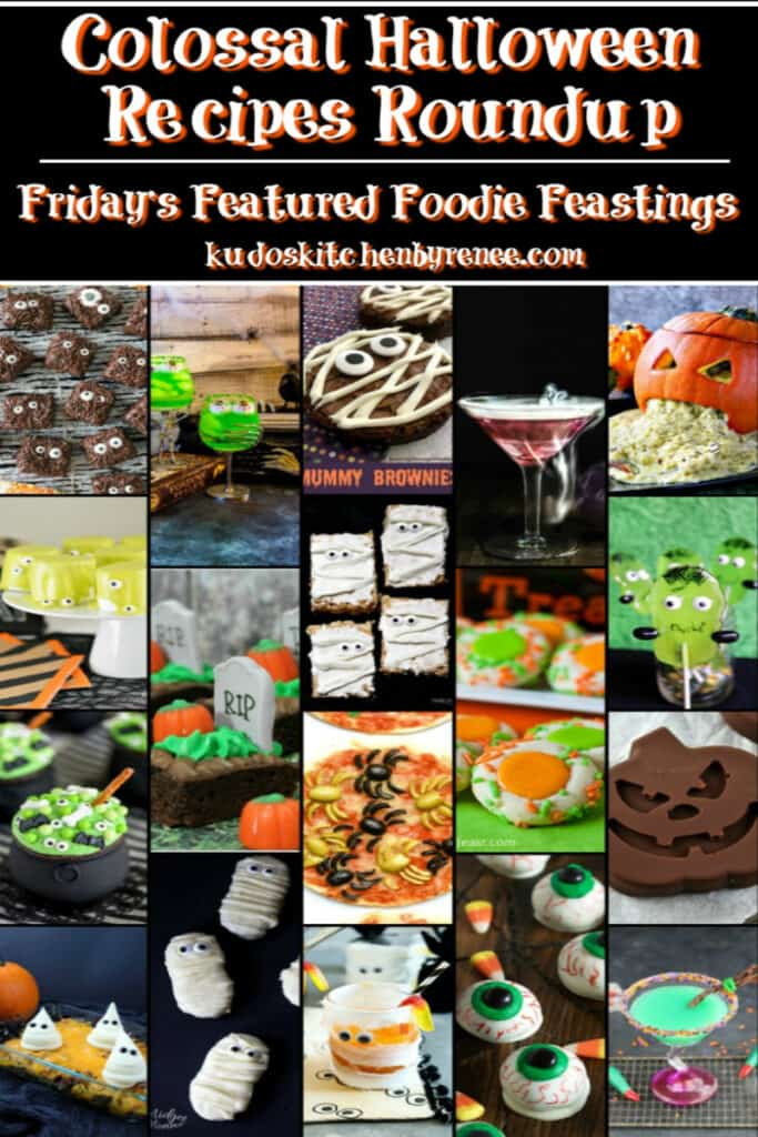 A full photo collage of Halloween Recipes Roundup with a title text overlay graphic.