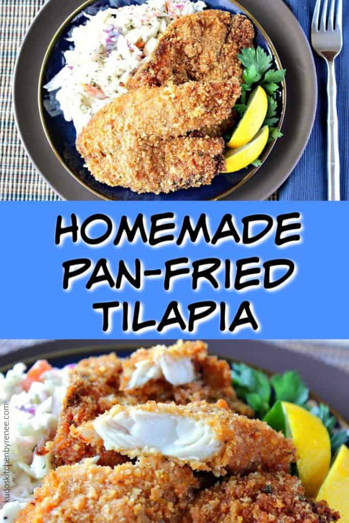 Vertical title text collage image of fried tilapia on a plate with coleslaw and lemon wedges.