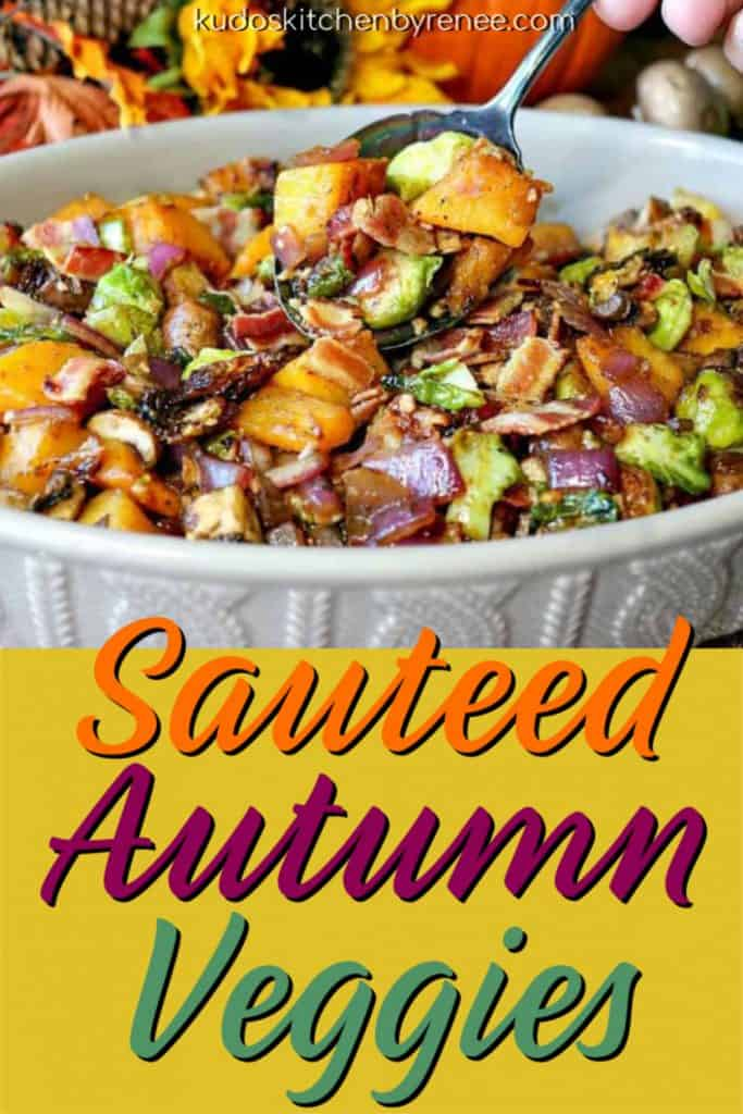 Colorful vertical title text image of sauteed autumn vegetables with script writing.