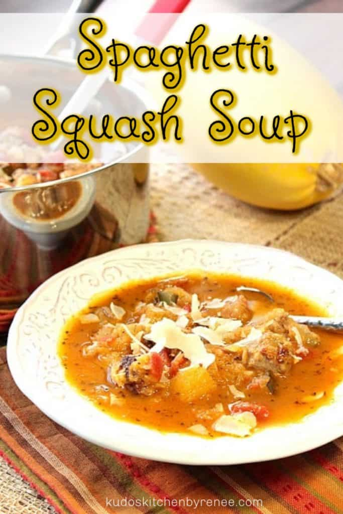 Vertical title text image of spaghetti squash soup with a closeup white bowl of soup with a spoon.