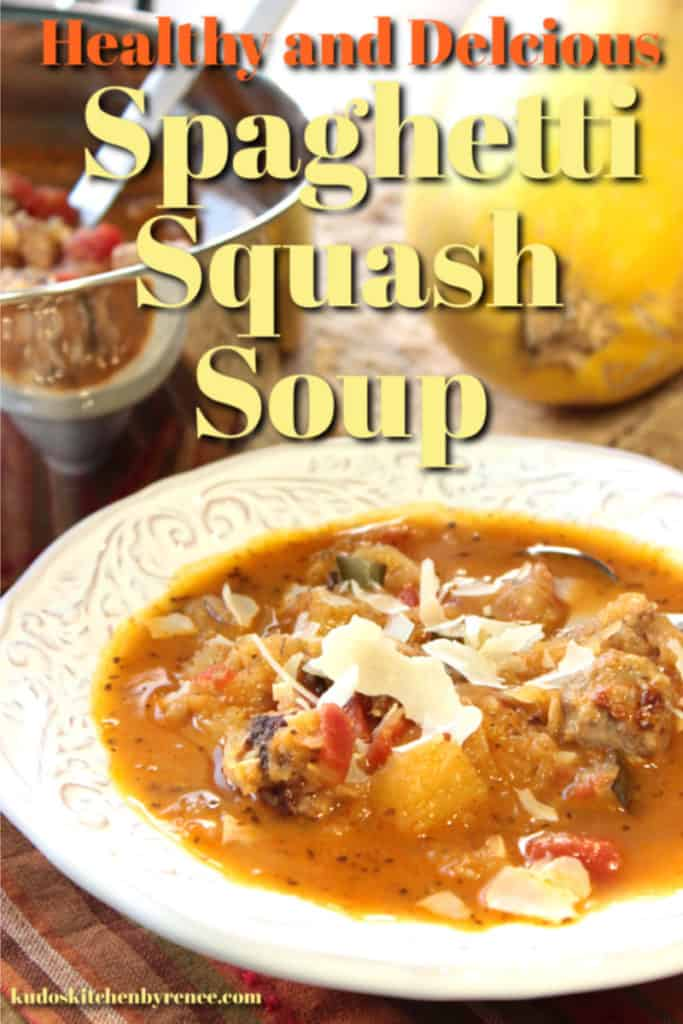 A vertical closeup photo of a bowl of spaghetti squash soup with a title text overlay graphic