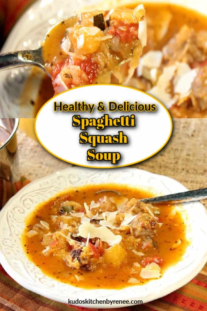 Vertical photo collage of two images of spaghetti squash soup with a title text overlay graphic in the center