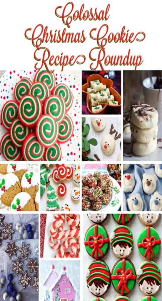 Vertical title text collage images of Colossal Christmas Cookie Recipe Roundup.