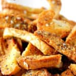 A closeup of everything bagel chips.