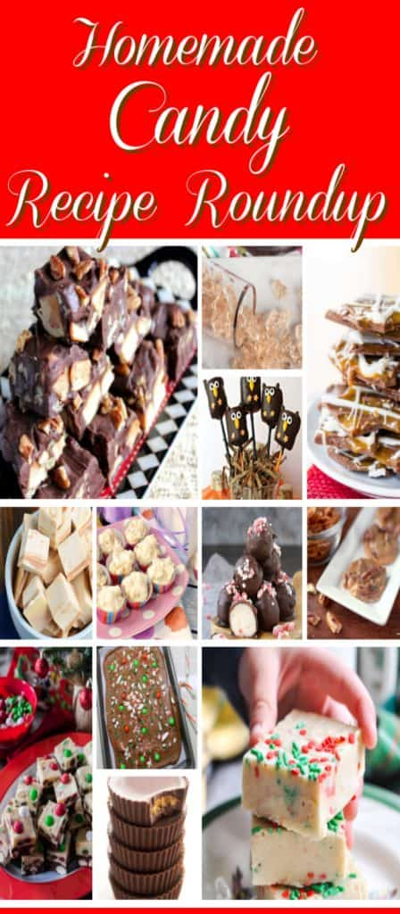 Vertical title text collage image of homemade candy recipe roundup.