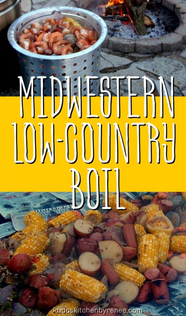 Title text collage image of a huge pot of low-country boil cooked over an open fire.