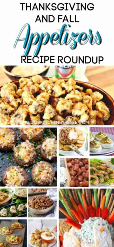Title text vertical hoto collage of Thanksgiving appetizers recipe roundup