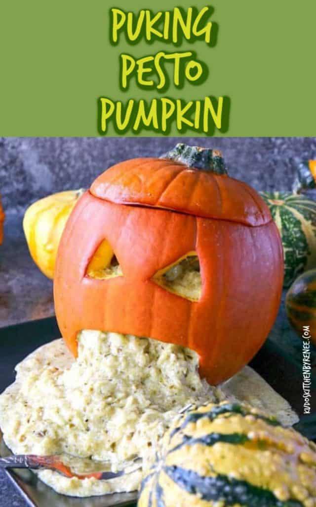 Vertical title text closeup image of a basil pesto spaghetti squash puking pumpkin for Halloween.