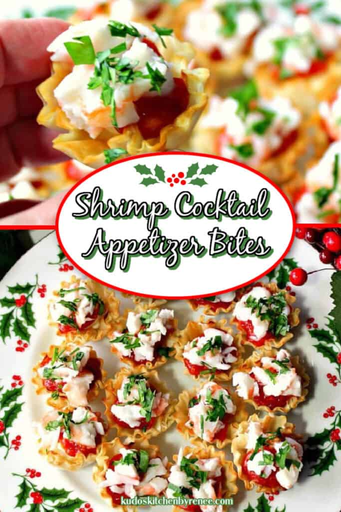 A vertical collage for showcasing Shrimp Cocktail Appetizer Bites in festive colors with a title text overlay graphic