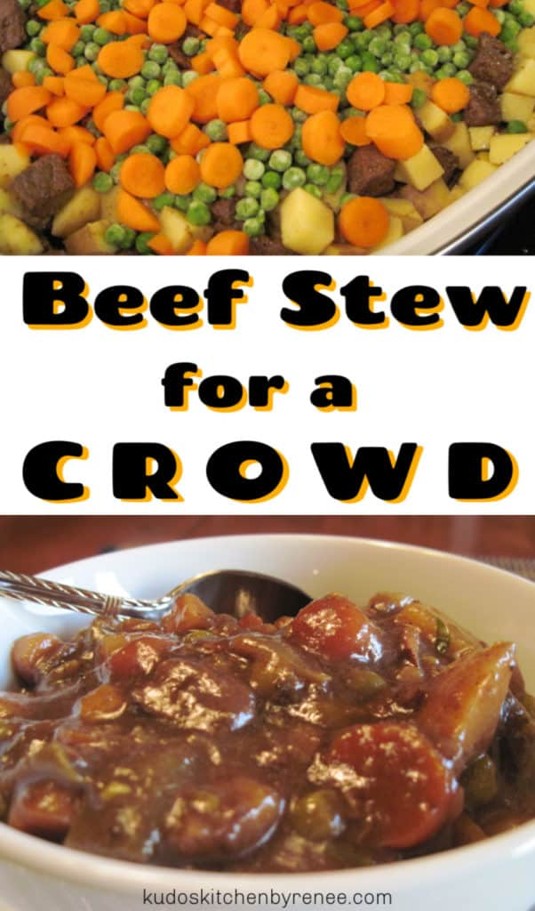 Vertical title text collage image of beef stew for a crowd with carrots, peas, and potatoes.