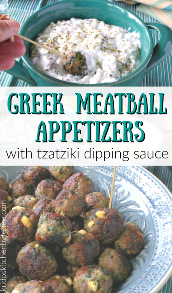 Vertical title text collage image of Greek meatball appetizers with tzatziki dipping sauce and dried oregano.