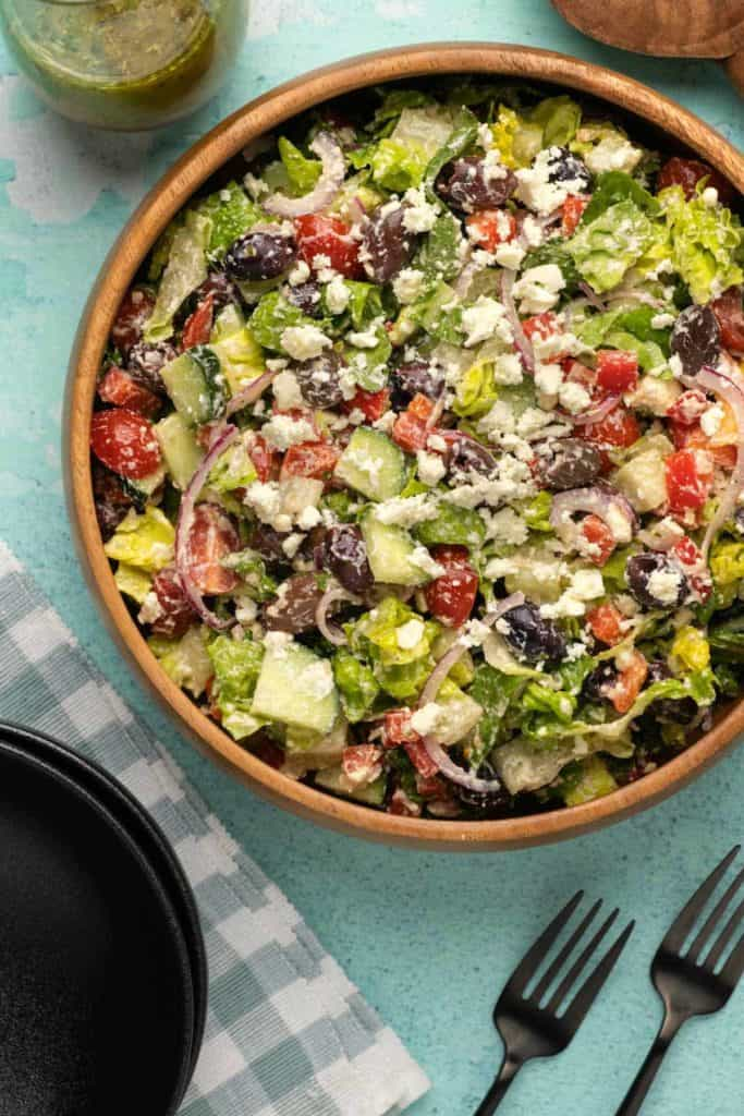 Overhead photo of a Greek salad. Healthy salad recipe roundup