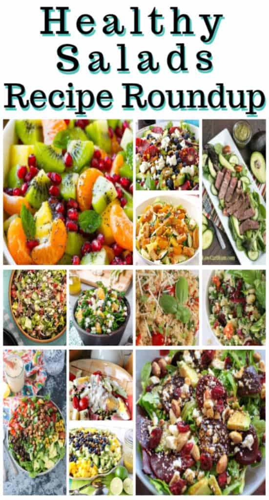 Title text vertical collage images of healthy salads recipe roundup.