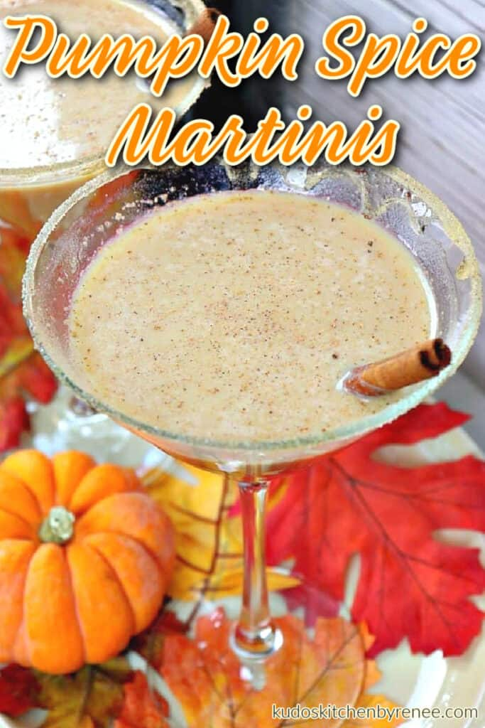 A vertical overhead closeup of a Pumpkin Spice Martinis recipe with baby pumpkins and autumn leaves on the ground.