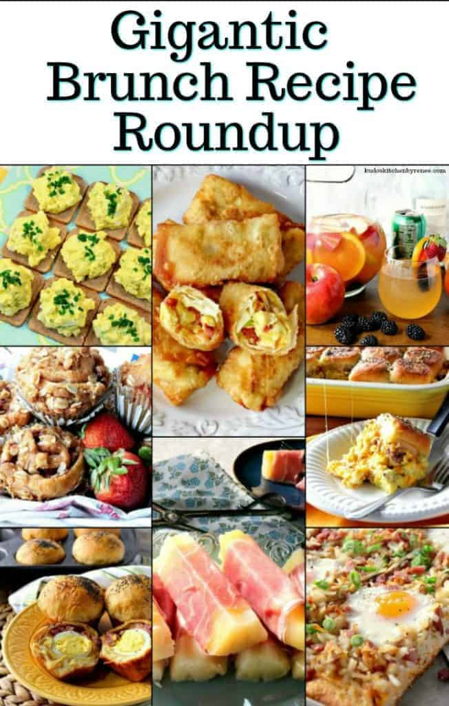A vertical title text collage image of breakfast and brunch recipe roundup.