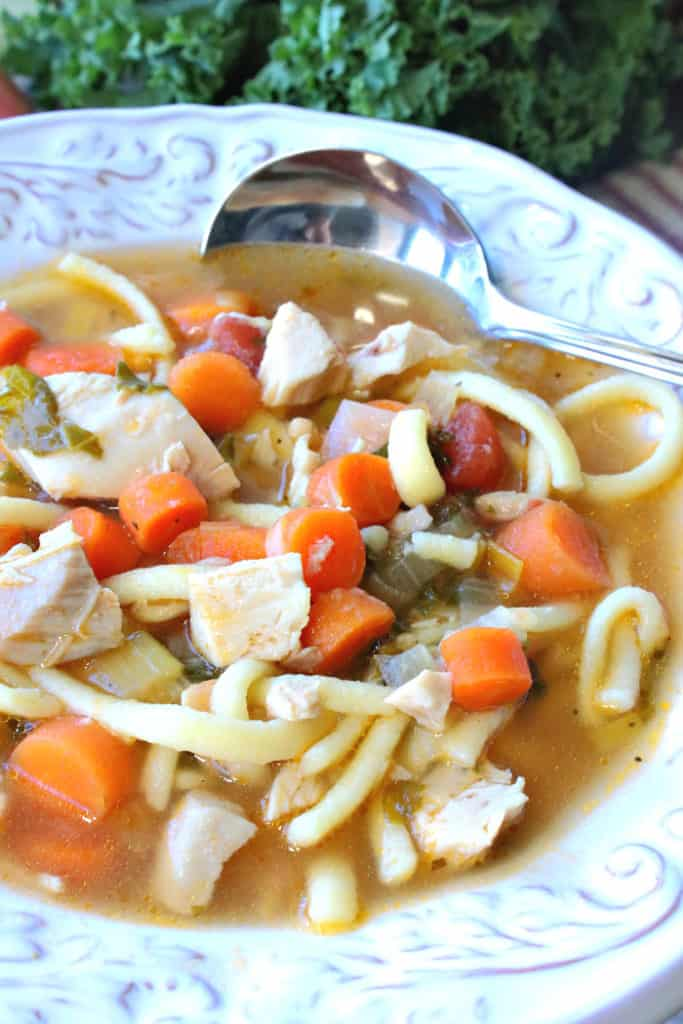 A vertical closeup photo of a bowl of chicken and leek soup with carrots, noodles, and kale, along with a soup spoon.