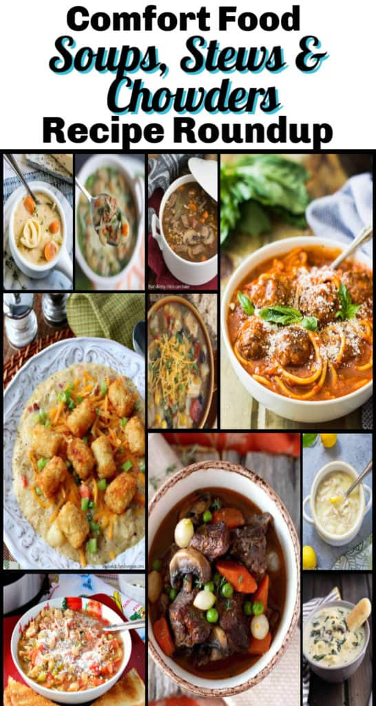 Vertical title text collage image for comfort food recipe roundup of soups, stews, and chowders.