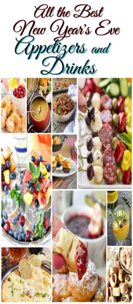 Title text collage image of New Year's Eve Appetizers and Drinks Recipe Roundup.