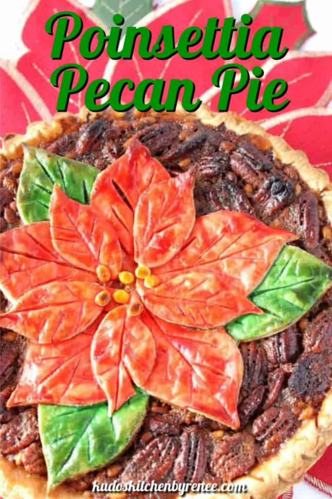 A closeup vertical title text image of a painted pie crust with a poinsettia and pecans.