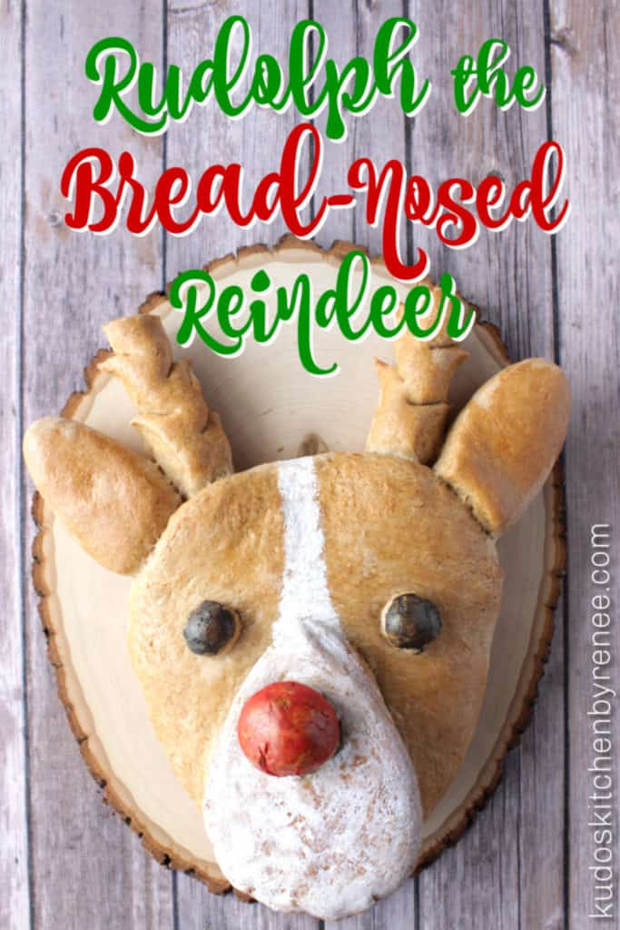 Vertical title text image of Rudolph bread with a colorful red nose on a wooden board.