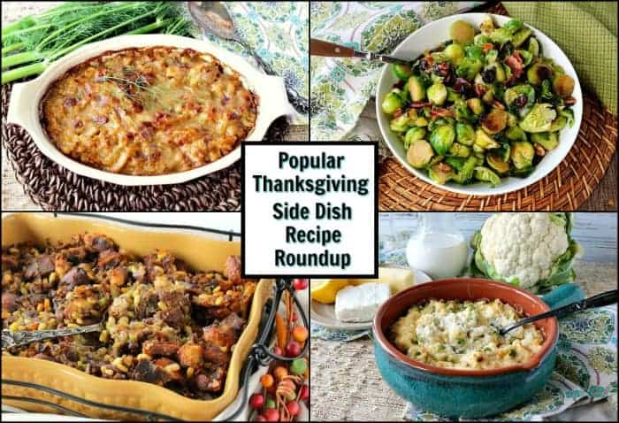 A photo collage with a title text overlay graphic in the center for Thanksgiving side dish recipe roundup