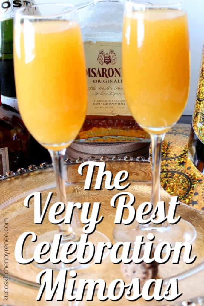 Two celebration mimosas cocktails with a bottle of amaretto in the background and a title text overlay image