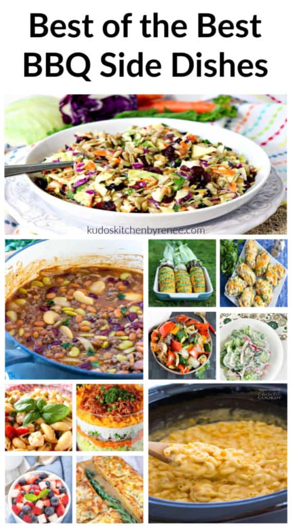 Title text vertical collage of BBQ side dishes for a recipe roundup.