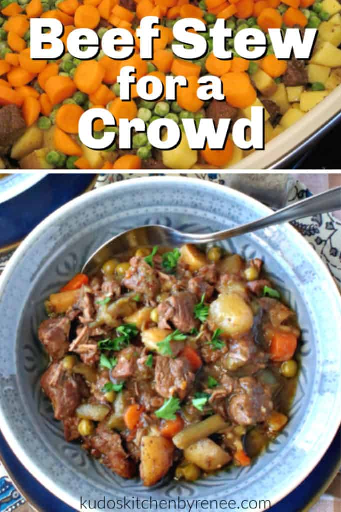 A collage image of beef stew for a crowd with a title text overlay graphic