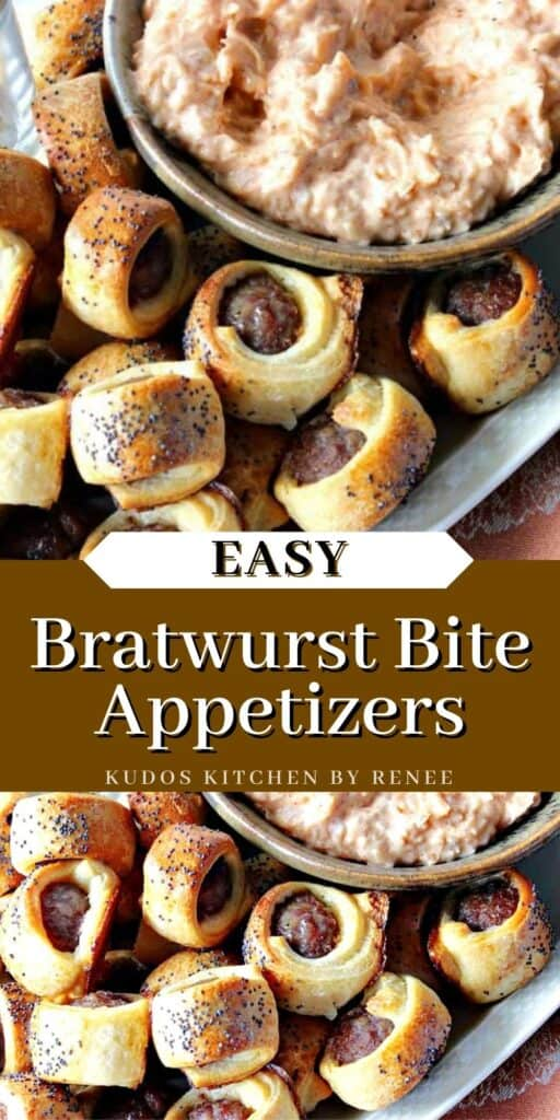 A vertical two image collage of Bratwurst Bite Appetizers along with a title text overlay graphic.