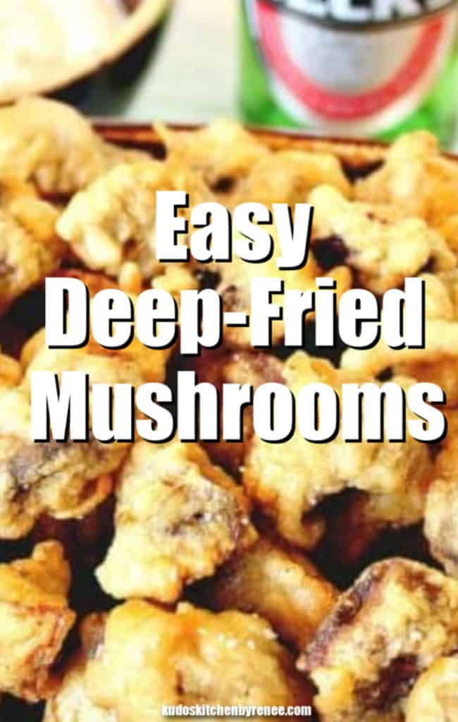Extreme closeup vertical title text image of easy deep-fried mushrooms with a bottle of beer in the background.