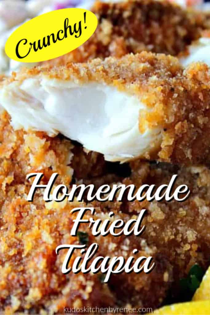 A vertical closeup title text image of the inside of a flaky piece of homemade deep fried fish.