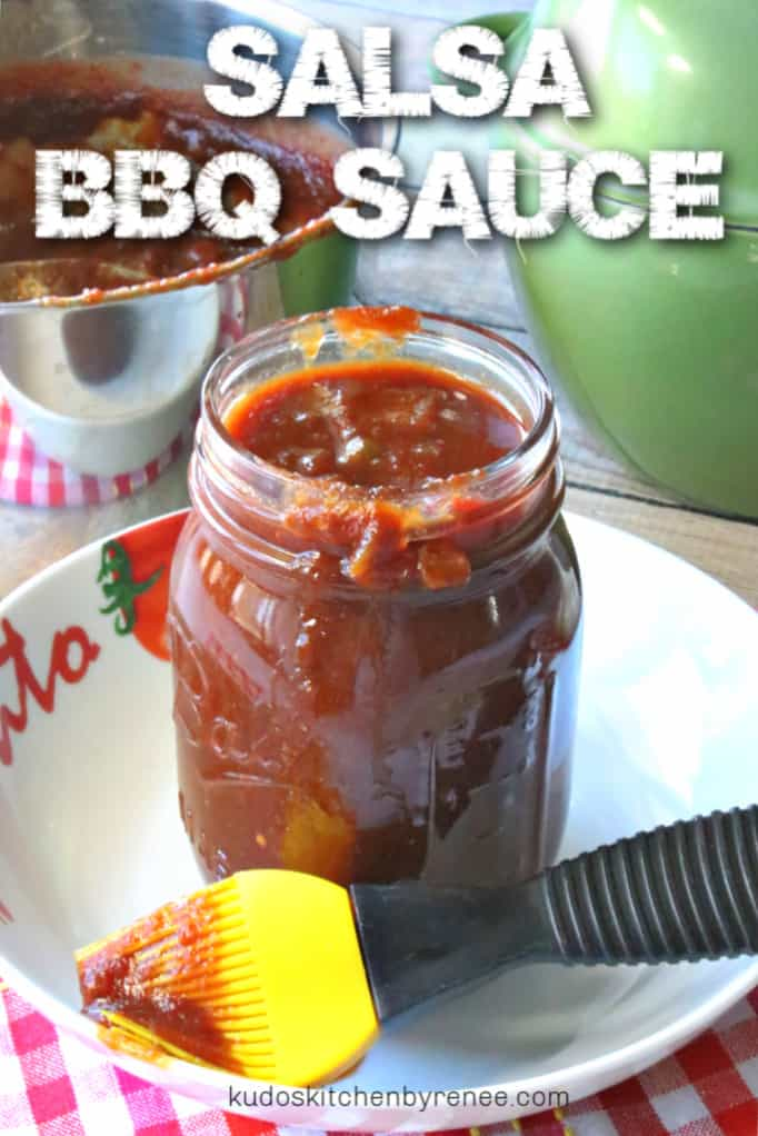 A vertical title text image of a jar of salsa bbq sauce in a white bowl with a yellow bbq brush on the side.
