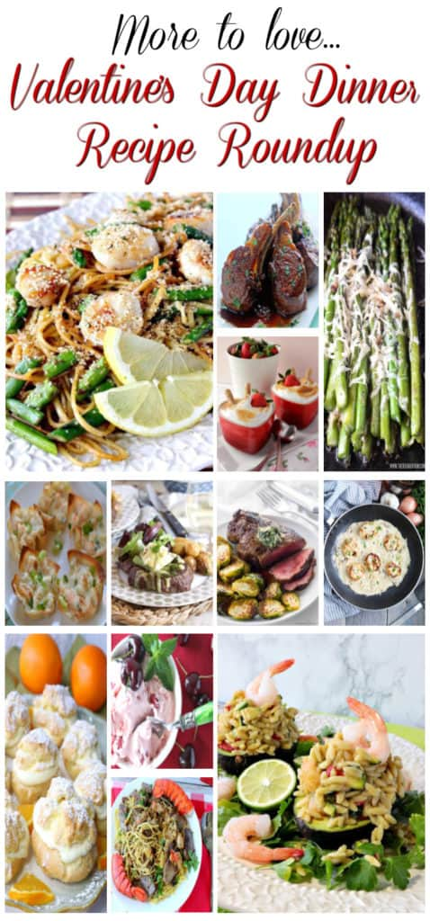 A title text vertical collage of Valentine's Day recipe roundup photos.