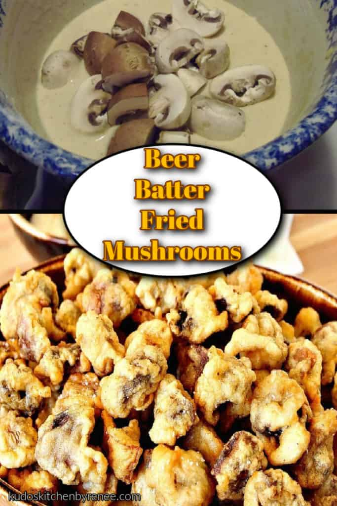 A vertical photo collage of beer batter fried mushrooms with an title text overlay graphic