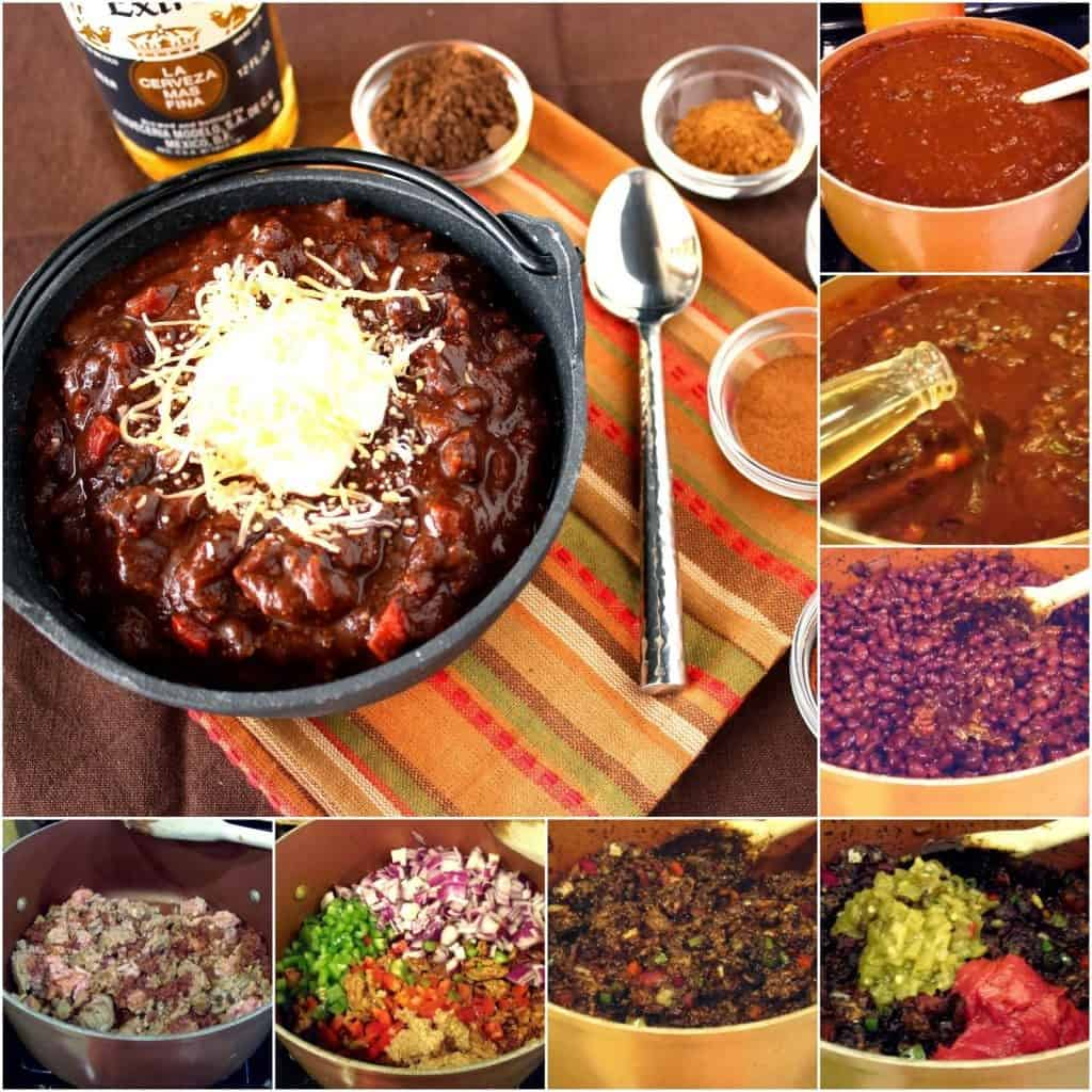 A square collage image of the process of making ole mole turkey chili.