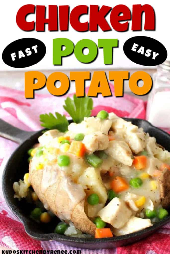 Colorful vertical closeup photo of a chicken pot potato with text.