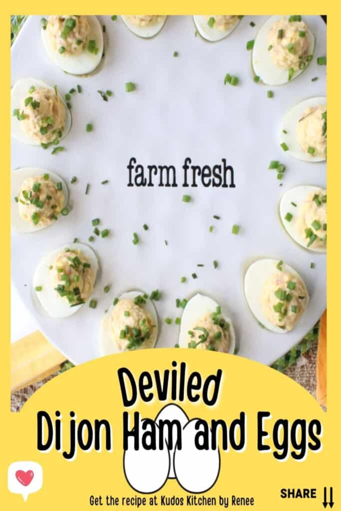 A vertical closeup of Deviled Ham and Eggs along with a title text overlay graphic in yellow, black and white.