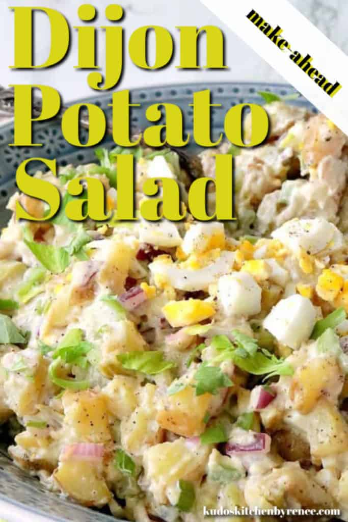 A closeup vertical title text image of Dijon potato salad BBQ side dish with hard boiled eggs, celery, and red onion.