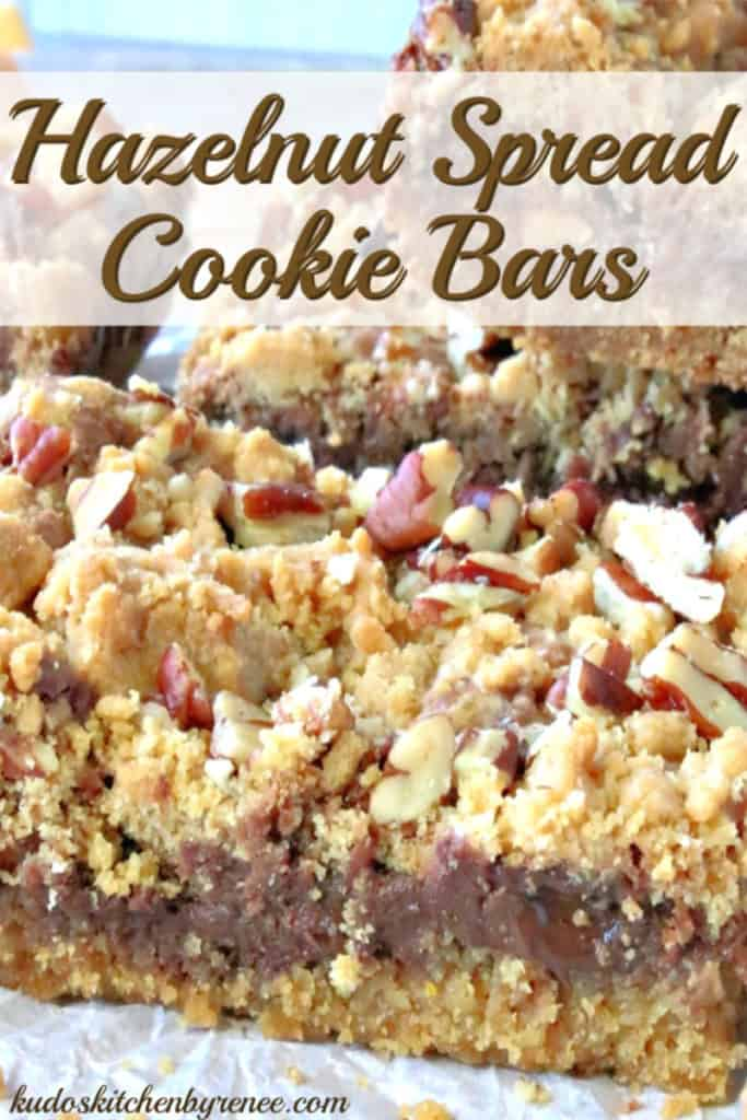 Closeup vertical title text photo of cookie bars with chocolate hazelnut spread and nuts.